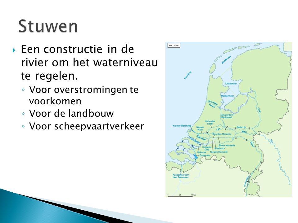  Een constructie in de rivier om het waterniveau te regelen. ◦ Voor overstromingen te voorkomen ◦ Voor de landbouw ◦ Voor scheepvaartverkeer