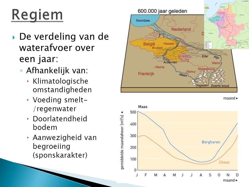  De verdeling van de waterafvoer over een jaar: ◦ Afhankelijk van:  Klimatologische omstandigheden  Voeding smelt- /regenwater  Doorlatendheid bod