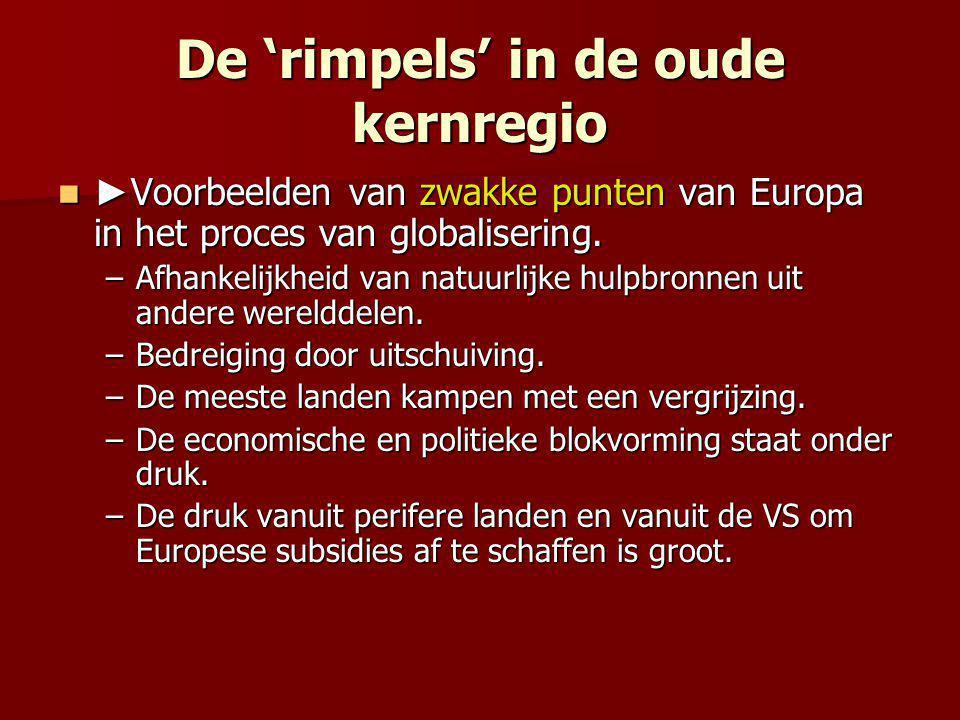 De 'rimpels' in de oude kernregio ► Voorbeelden van zwakke punten van Europa in het proces van globalisering. ► Voorbeelden van zwakke punten van Euro