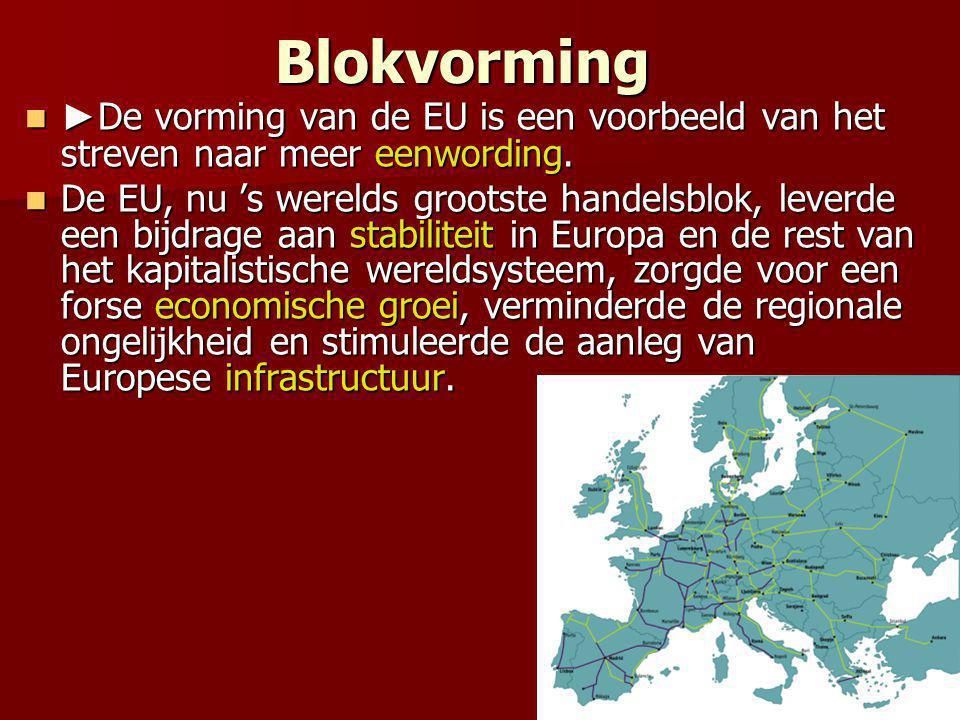 Blokvorming ► De vorming van de EU is een voorbeeld van het streven naar meer eenwording. ► De vorming van de EU is een voorbeeld van het streven naar