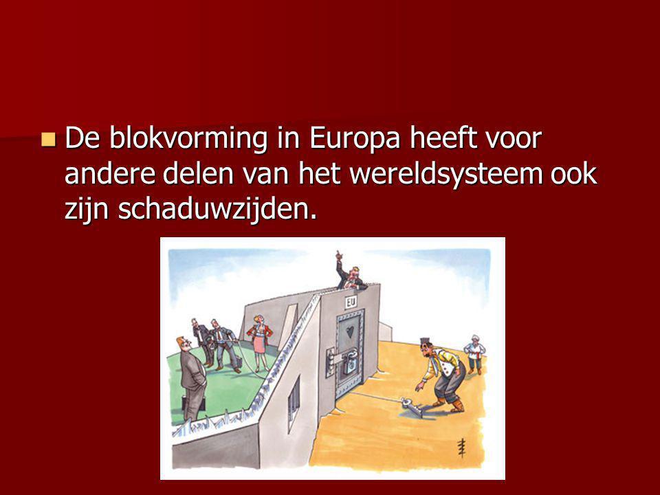 De blokvorming in Europa heeft voor andere delen van het wereldsysteem ook zijn schaduwzijden. De blokvorming in Europa heeft voor andere delen van he