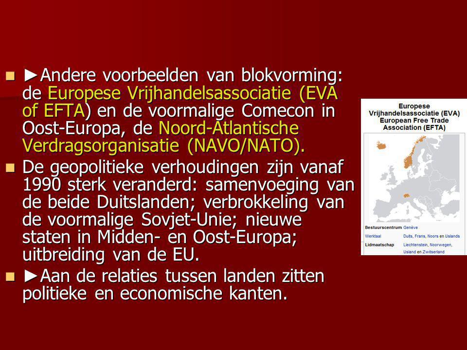 ► Andere voorbeelden van blokvorming: de Europese Vrijhandelsassociatie (EVA of EFTA) en de voormalige Comecon in Oost-Europa, de Noord-Atlantische Ve