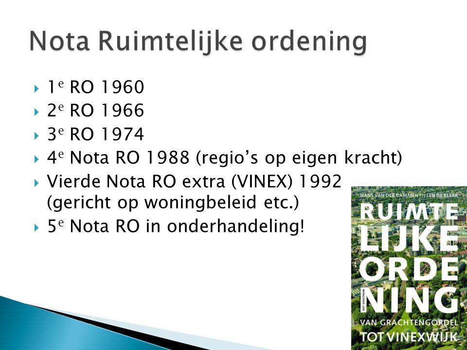  1 e RO 1960  2 e RO 1966  3 e RO 1974  4 e Nota RO 1988 (regio's op eigen kracht)  Vierde Nota RO extra (VINEX) 1992 (gericht op woningbeleid et
