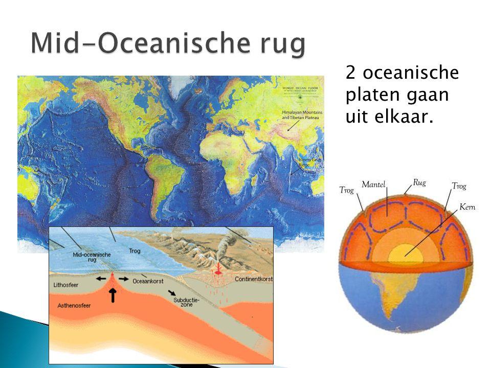 2 oceanische platen gaan uit elkaar.