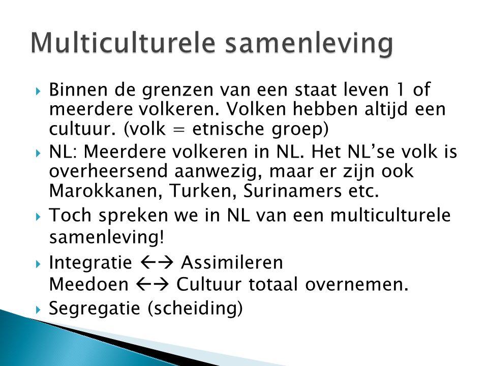  Binnen de grenzen van een staat leven 1 of meerdere volkeren. Volken hebben altijd een cultuur. (volk = etnische groep)  NL: Meerdere volkeren in N
