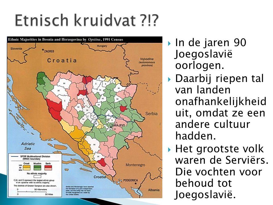  In de jaren 90 Joegoslavië oorlogen.  Daarbij riepen tal van landen onafhankelijkheid uit, omdat ze een andere cultuur hadden.  Het grootste volk