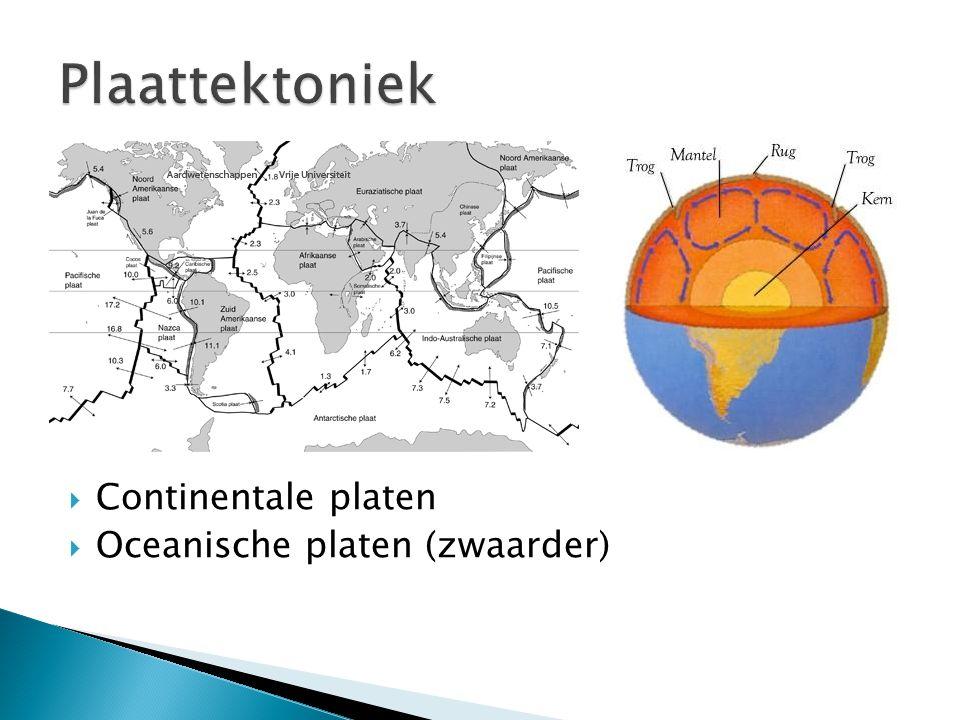  Continentale platen  Oceanische platen (zwaarder)