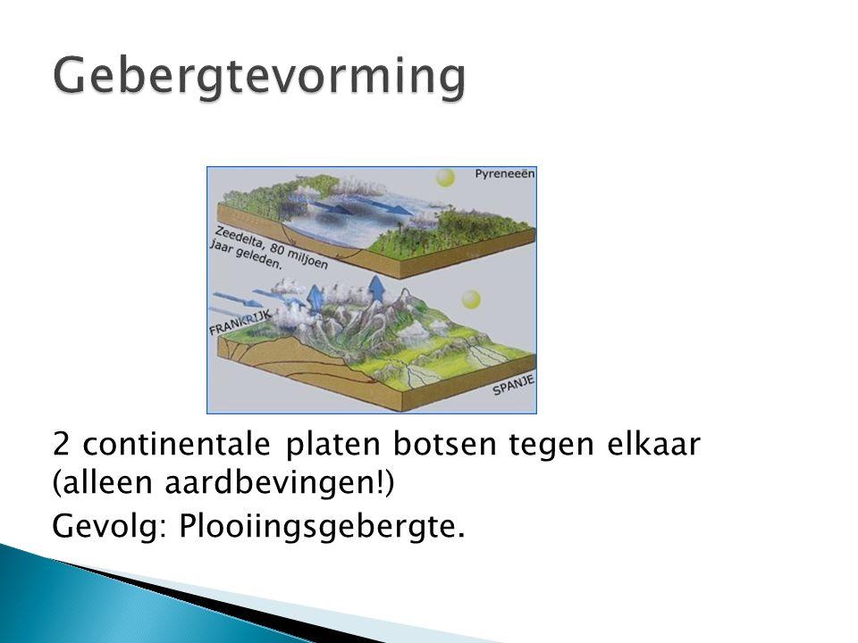 2 continentale platen botsen tegen elkaar (alleen aardbevingen!) Gevolg: Plooiingsgebergte.