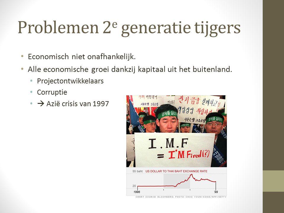 Problemen 2 e generatie tijgers Economisch niet onafhankelijk.