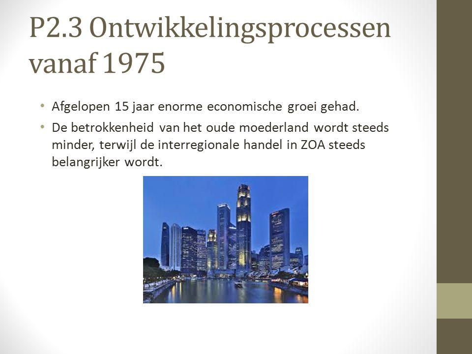 P2.3 Ontwikkelingsprocessen vanaf 1975 Afgelopen 15 jaar enorme economische groei gehad.