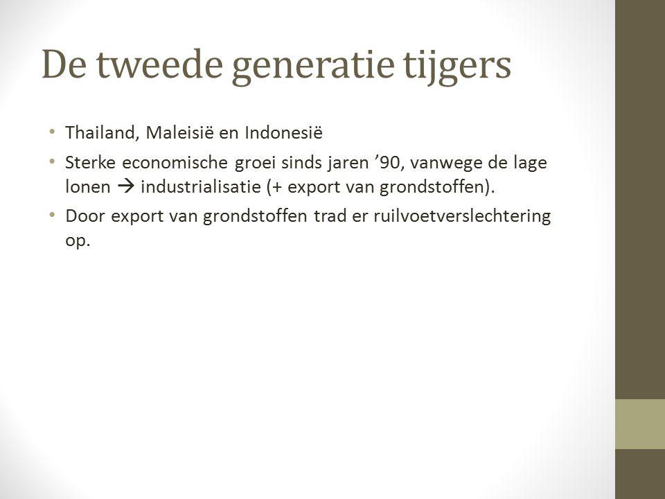 De tweede generatie tijgers Thailand, Maleisië en Indonesië Sterke economische groei sinds jaren '90, vanwege de lage lonen  industrialisatie (+ export van grondstoffen).