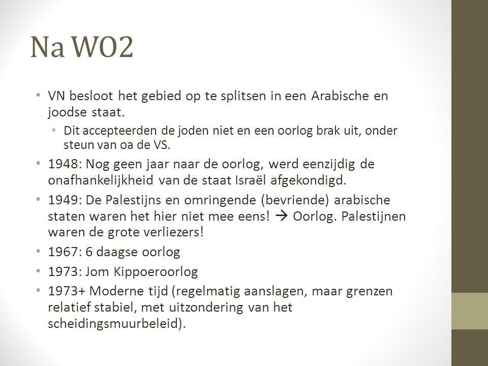 Na WO2 VN besloot het gebied op te splitsen in een Arabische en joodse staat. Dit accepteerden de joden niet en een oorlog brak uit, onder steun van o