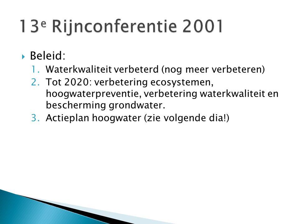  Beleid: 1.Waterkwaliteit verbeterd (nog meer verbeteren) 2.Tot 2020: verbetering ecosystemen, hoogwaterpreventie, verbetering waterkwaliteit en bescherming grondwater.
