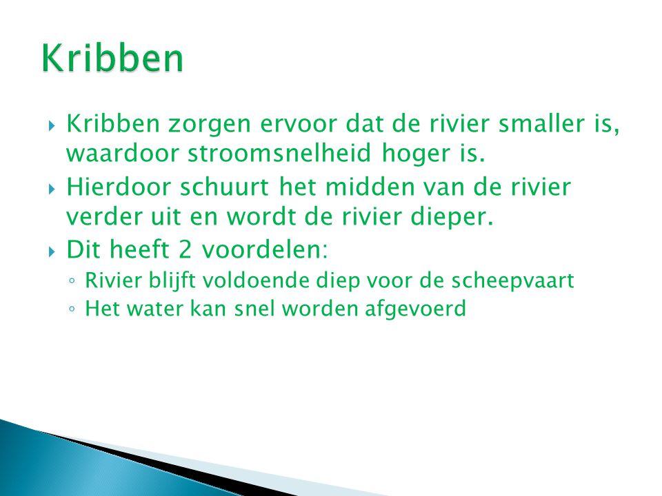  Kribben zorgen ervoor dat de rivier smaller is, waardoor stroomsnelheid hoger is.  Hierdoor schuurt het midden van de rivier verder uit en wordt de