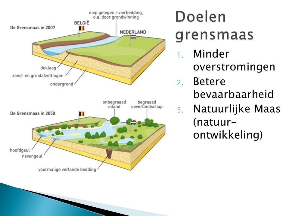 1. Minder overstromingen 2. Betere bevaarbaarheid 3. Natuurlijke Maas (natuur- ontwikkeling)
