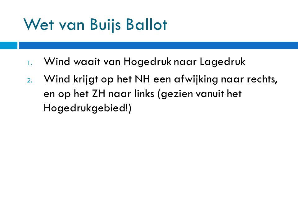 Wet van Buijs Ballot 1. Wind waait van Hogedruk naar Lagedruk 2. Wind krijgt op het NH een afwijking naar rechts, en op het ZH naar links (gezien vanu