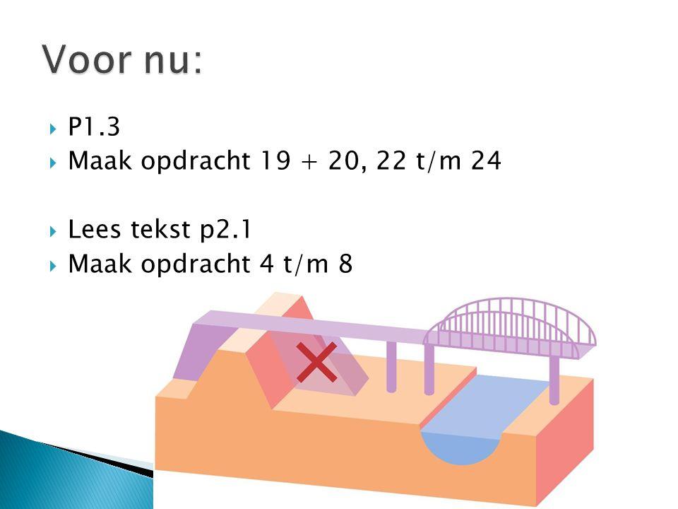  P1.3  Maak opdracht 19 + 20, 22 t/m 24  Lees tekst p2.1  Maak opdracht 4 t/m 8