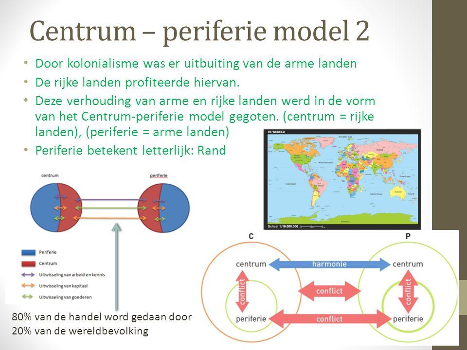 Centrum – periferie model 2 Door kolonialisme was er uitbuiting van de arme landen De rijke landen profiteerde hiervan. Deze verhouding van arme en ri