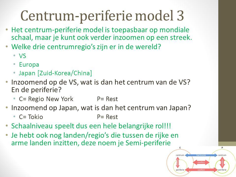 Centrum-periferie model 3 Het centrum-periferie model is toepasbaar op mondiale schaal, maar je kunt ook verder inzoomen op een streek. Welke drie cen