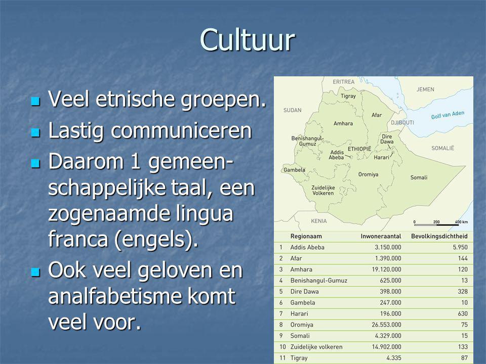 Cultuur Veel etnische groepen. Veel etnische groepen. Lastig communiceren Lastig communiceren Daarom 1 gemeen- schappelijke taal, een zogenaamde lingu