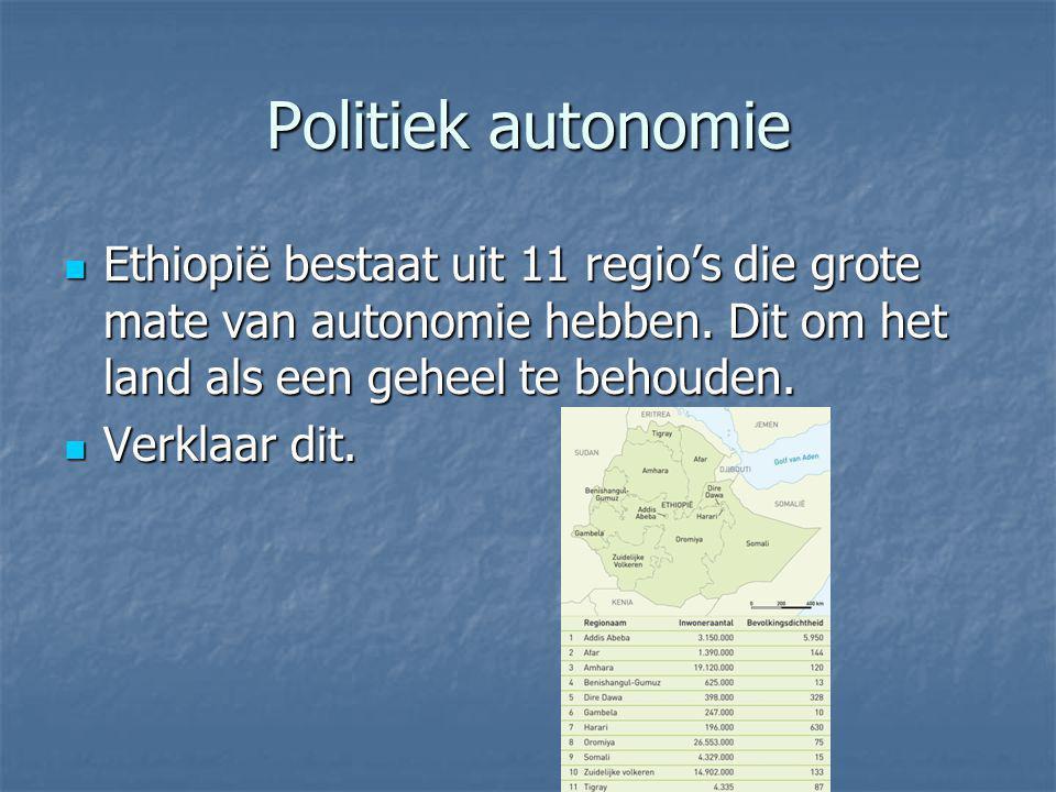 Politiek autonomie Ethiopië bestaat uit 11 regio's die grote mate van autonomie hebben. Dit om het land als een geheel te behouden. Ethiopië bestaat u