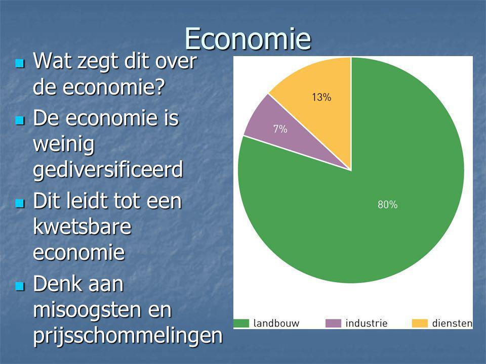 Economie Wat zegt dit over de economie? Wat zegt dit over de economie? De economie is weinig gediversificeerd De economie is weinig gediversificeerd D