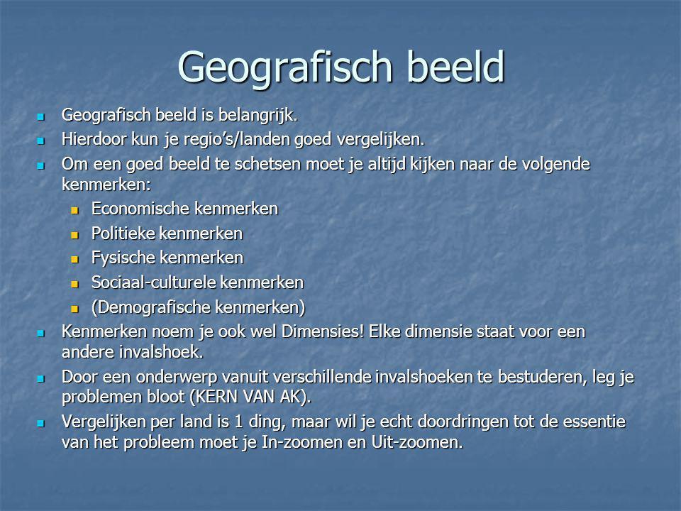 Geografisch beeld Geografisch beeld is belangrijk. Geografisch beeld is belangrijk. Hierdoor kun je regio's/landen goed vergelijken. Hierdoor kun je r
