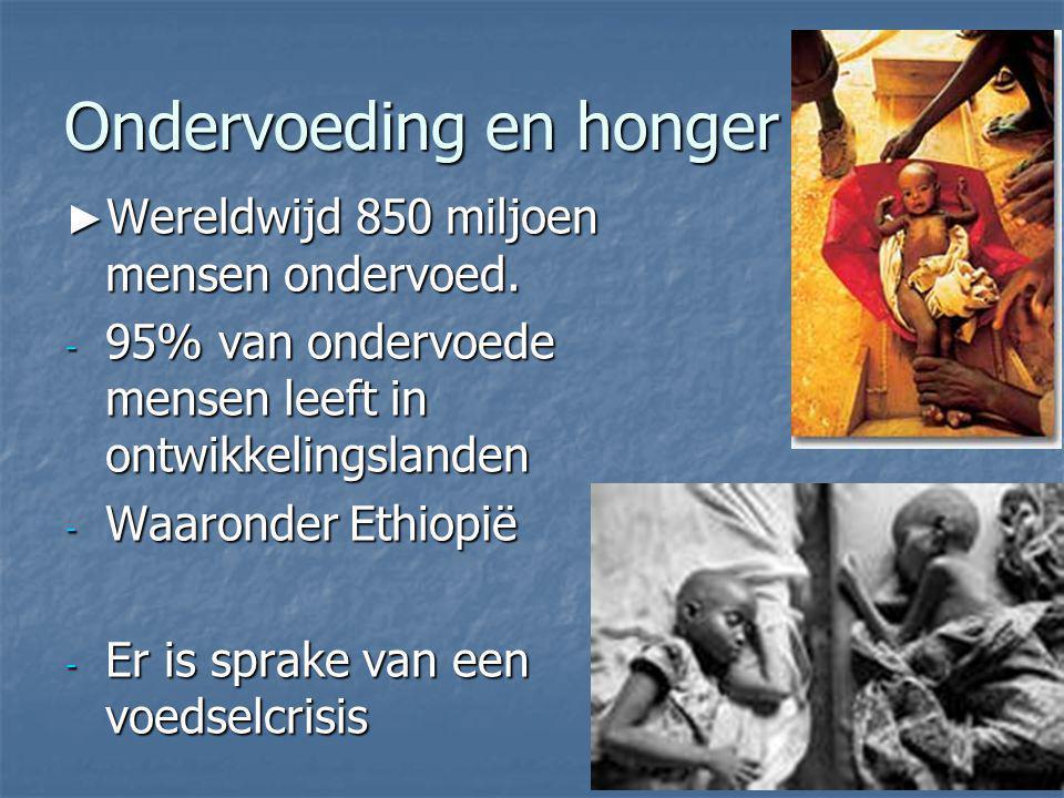 Ondervoeding en honger ► Wereldwijd 850 miljoen mensen ondervoed. - 95% van ondervoede mensen leeft in ontwikkelingslanden - Waaronder Ethiopië - Er i