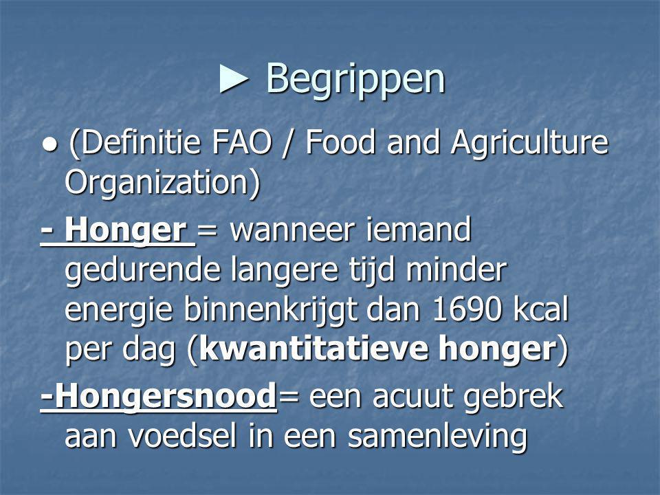 ► Begrippen ● (Definitie FAO / Food and Agriculture Organization) - Honger = wanneer iemand gedurende langere tijd minder energie binnenkrijgt dan 169