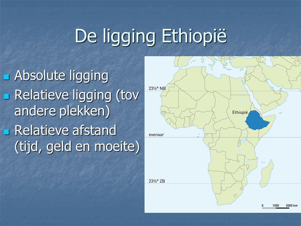 De ligging Ethiopië Absolute ligging Absolute ligging Relatieve ligging (tov andere plekken) Relatieve ligging (tov andere plekken) Relatieve afstand