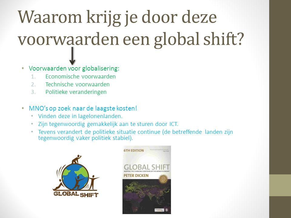 Waarom krijg je door deze voorwaarden een global shift? Voorwaarden voor globalisering: 1.Economische voorwaarden 2.Technische voorwaarden 3.Politieke