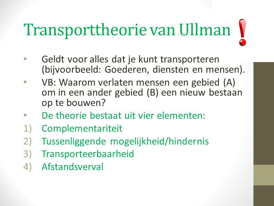 Transporttheorie van Ullman Geldt voor alles dat je kunt transporteren (bijvoorbeeld: Goederen, diensten en mensen). VB: Waarom verlaten mensen een ge