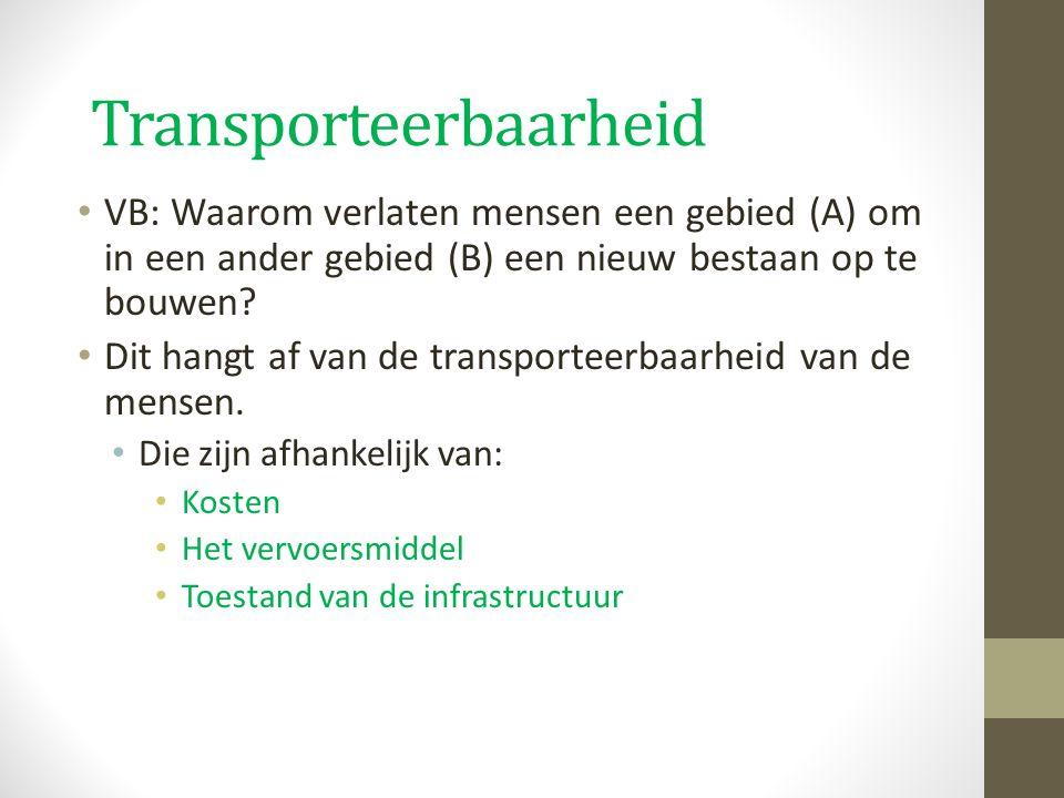Transporteerbaarheid VB: Waarom verlaten mensen een gebied (A) om in een ander gebied (B) een nieuw bestaan op te bouwen? Dit hangt af van de transpor