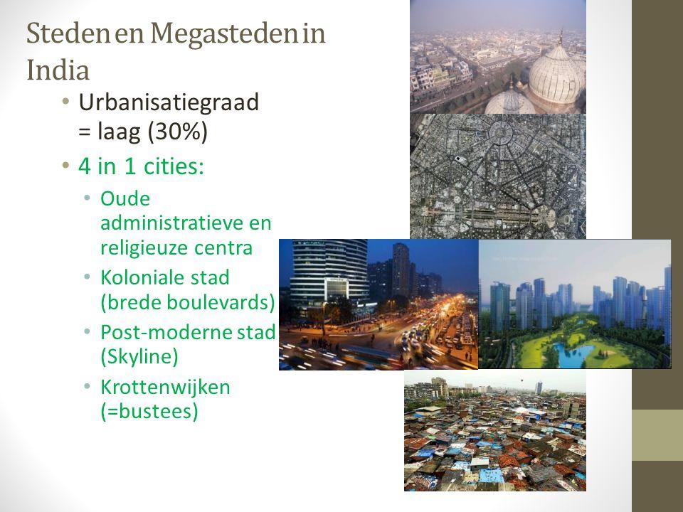 Steden en Megasteden in India Urbanisatiegraad = laag (30%) 4 in 1 cities: Oude administratieve en religieuze centra Koloniale stad (brede boulevards)