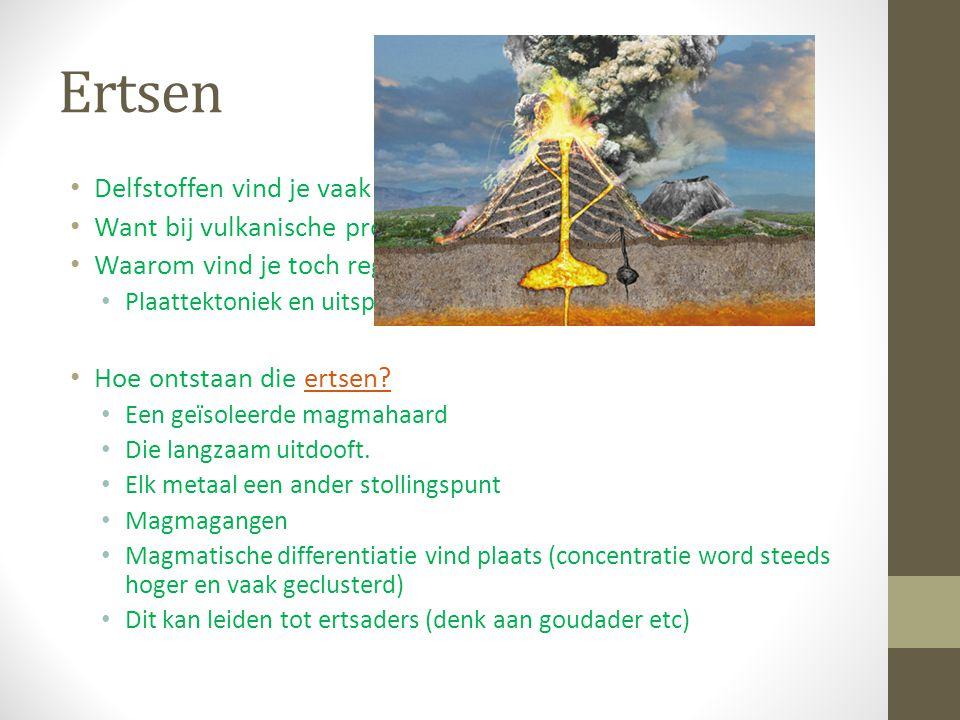 Ertsen Delfstoffen vind je vaak in de omgeving van vulkanen. Want bij vulkanische processen ontstaan ertsen. Waarom vind je toch regelmatig elders del