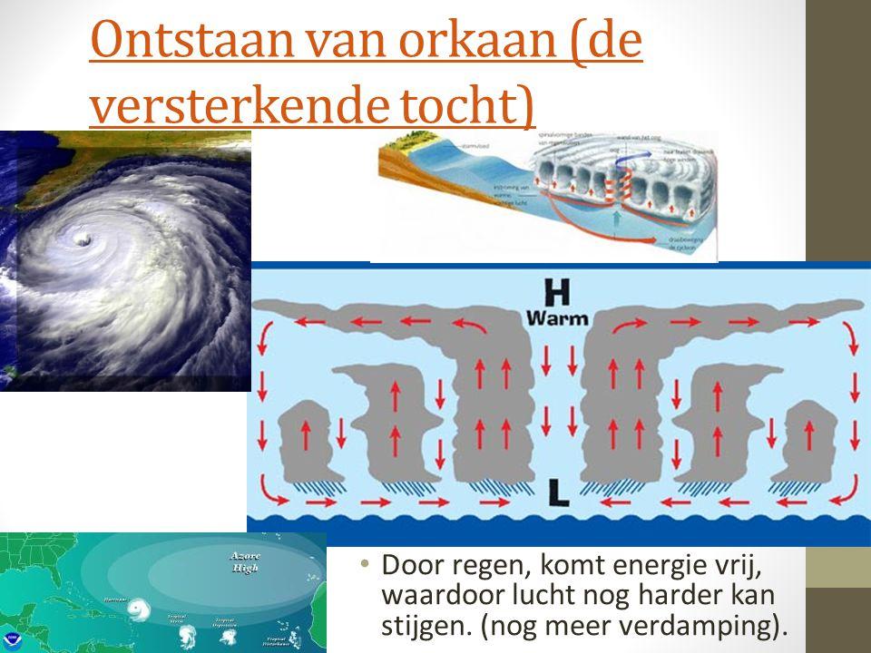 Ontstaan van orkaan (de versterkende tocht) Door regen, komt energie vrij, waardoor lucht nog harder kan stijgen. (nog meer verdamping).