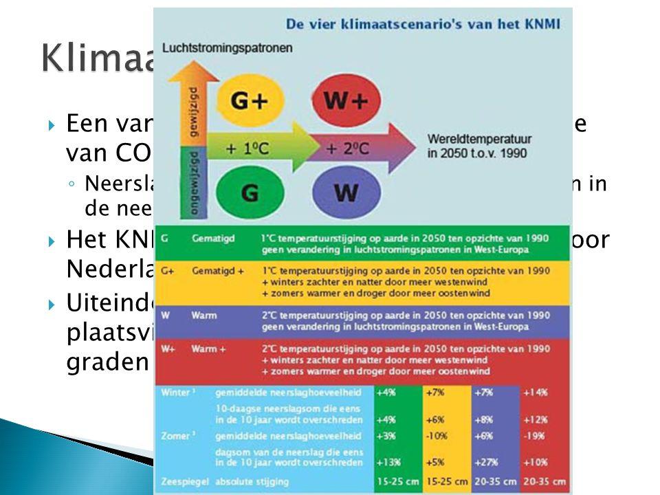  Een van de veranderingen door de toename van CO2 is de neerslag. ◦ Neerslagregime verandert: Meer schommelingen in de neerslag verspreid over een ja