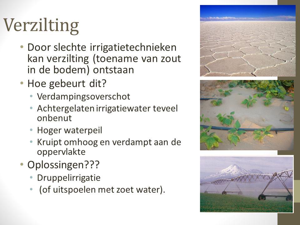 Verzilting Door slechte irrigatietechnieken kan verzilting (toename van zout in de bodem) ontstaan Hoe gebeurt dit? Verdampingsoverschot Achtergelaten