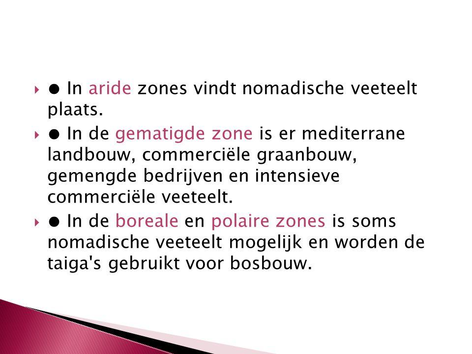  ● In aride zones vindt nomadische veeteelt plaats.  ● In de gematigde zone is er mediterrane landbouw, commerciële graanbouw, gemengde bedrijven en