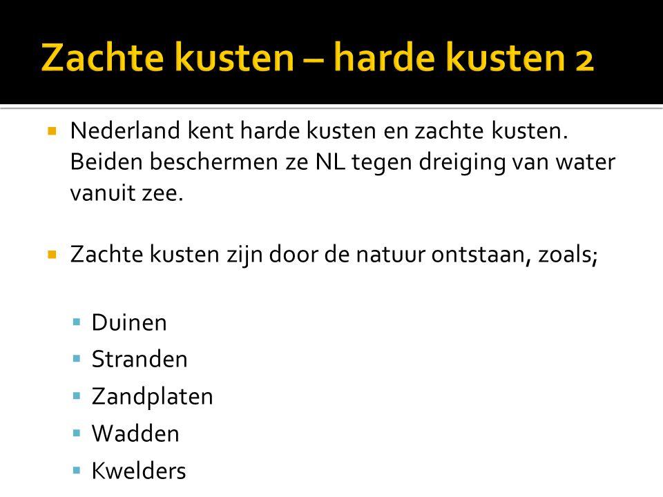  Nederland kent harde kusten en zachte kusten.