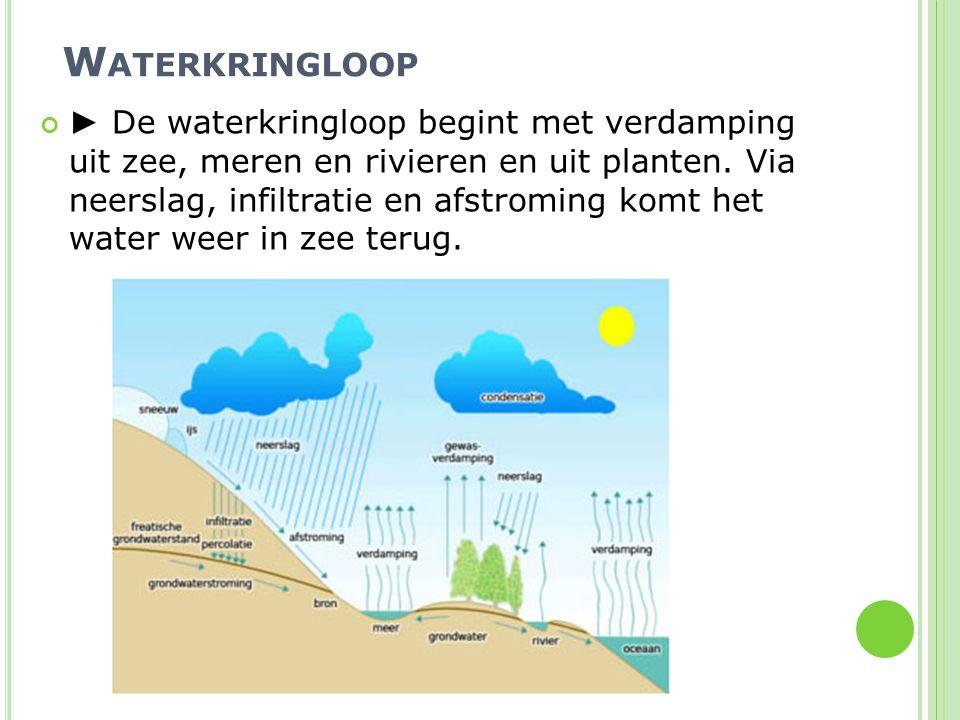 W ATERKRINGLOOP ► De waterkringloop begint met verdamping uit zee, meren en rivieren en uit planten. Via neerslag, infiltratie en afstroming komt het