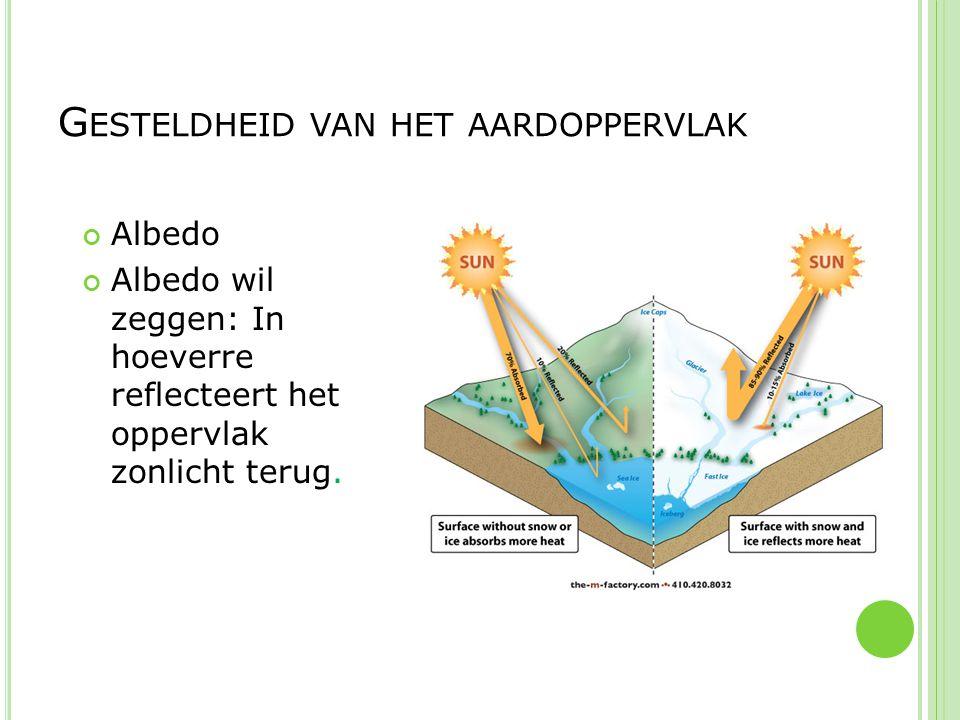 Albedo Albedo wil zeggen: In hoeverre reflecteert het oppervlak zonlicht terug. G ESTELDHEID VAN HET AARDOPPERVLAK