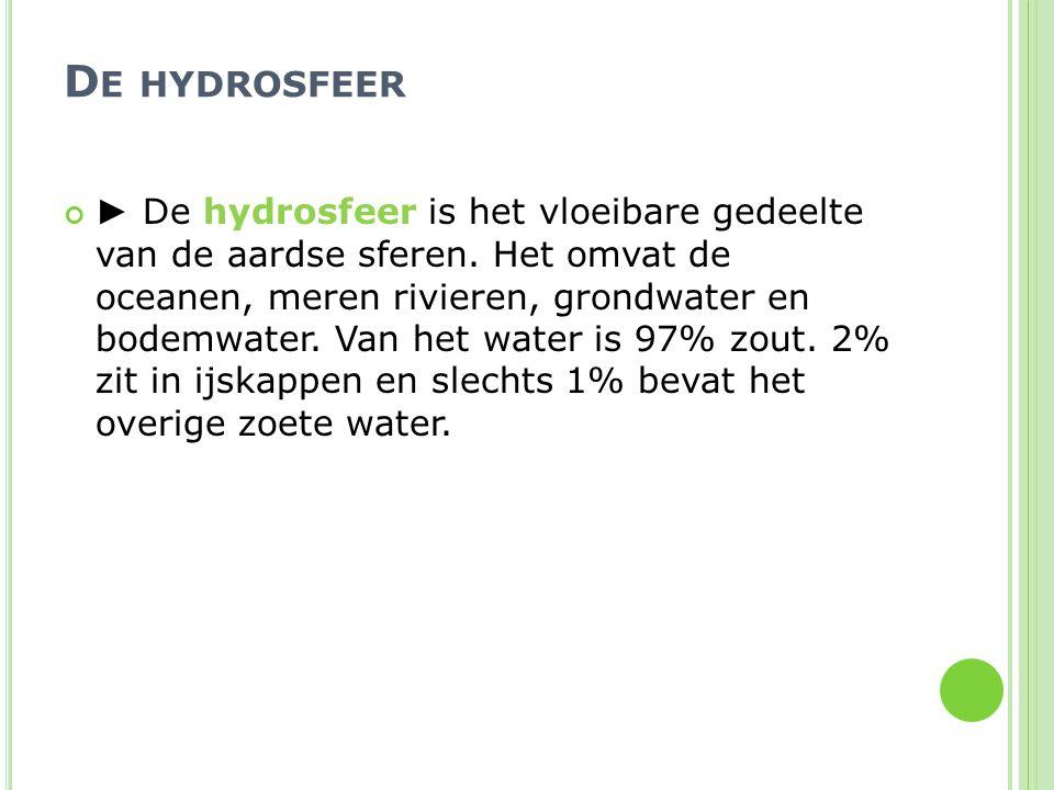 D E HYDROSFEER ► De hydrosfeer is het vloeibare gedeelte van de aardse sferen. Het omvat de oceanen, meren rivieren, grondwater en bodemwater. Van het