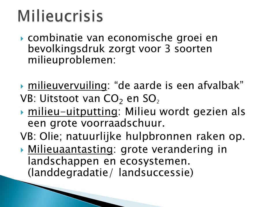  combinatie van economische groei en bevolkingsdruk zorgt voor 3 soorten milieuproblemen:  milieuvervuiling: de aarde is een afvalbak VB: Uitstoot van CO 2 en SO 2  milieu-uitputting: Milieu wordt gezien als een grote voorraadschuur.