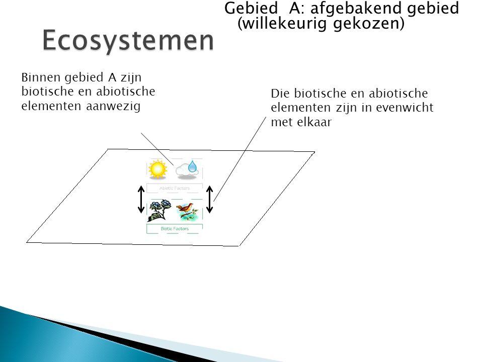 Gebied A: afgebakend gebied (willekeurig gekozen) Binnen gebied A zijn biotische en abiotische elementen aanwezig Die biotische en abiotische elementen zijn in evenwicht met elkaar