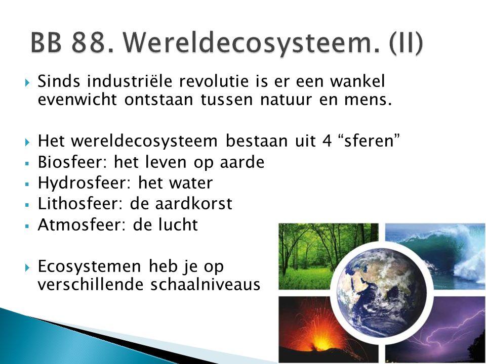 """ Sinds industriële revolutie is er een wankel evenwicht ontstaan tussen natuur en mens.  Het wereldecosysteem bestaan uit 4 """"sferen""""  Biosfeer: het"""