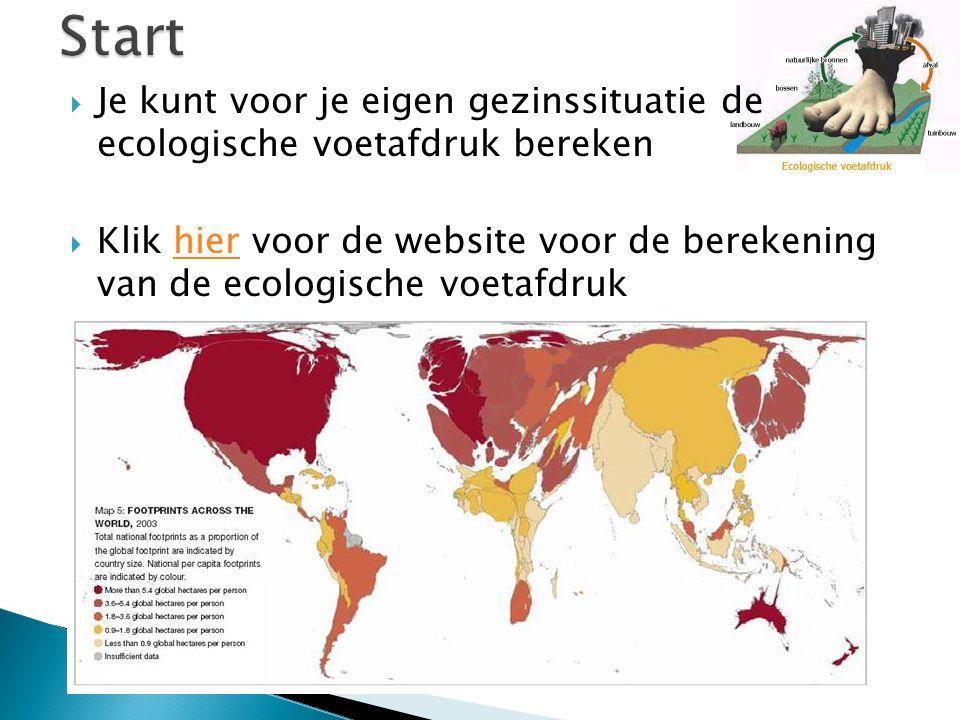  Je kunt voor je eigen gezinssituatie de ecologische voetafdruk bereken  Klik hier voor de website voor de berekening van de ecologische voetafdrukhier