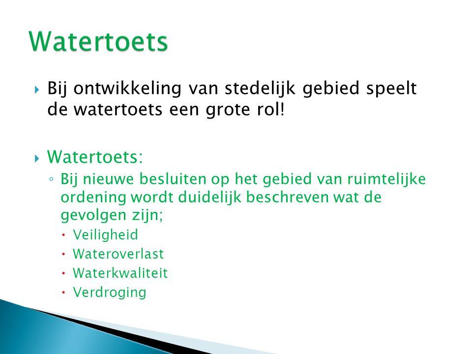  Bij ontwikkeling van stedelijk gebied speelt de watertoets een grote rol!  Watertoets: ◦ Bij nieuwe besluiten op het gebied van ruimtelijke ordenin