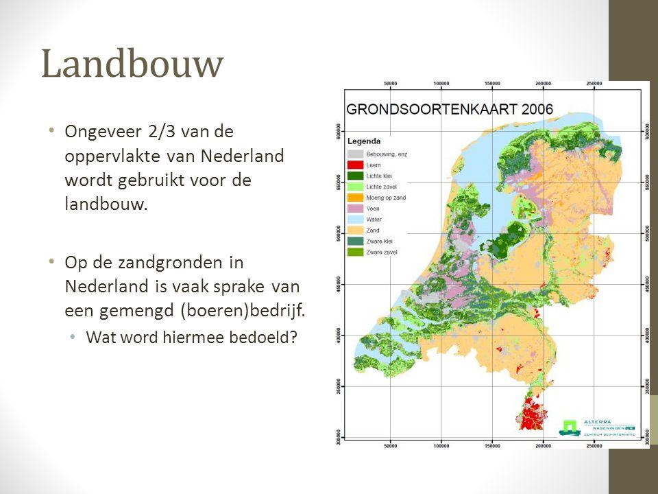 Landbouw Ongeveer 2/3 van de oppervlakte van Nederland wordt gebruikt voor de landbouw. Op de zandgronden in Nederland is vaak sprake van een gemengd