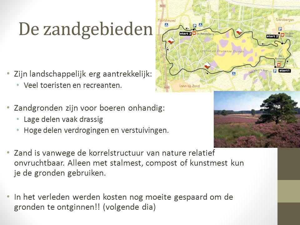 De zandgebieden Zijn landschappelijk erg aantrekkelijk: Veel toeristen en recreanten. Zandgronden zijn voor boeren onhandig: Lage delen vaak drassig H